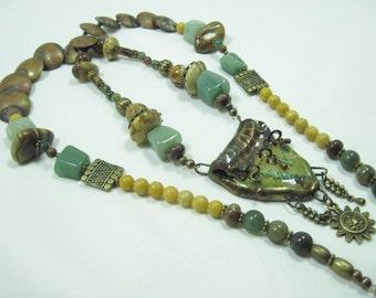 Handmade Rattlesnake Vertebrae Pendant, Vintage Brass, Gemstone Long Necklace OOAK