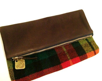 Foldover Clutch - Leather + Vintage Buchanan Plaid