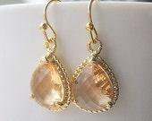 Champagne Teardrop Earrings / Blush Drop Earrings / Glass Dangle / Bridesmaids / Wedding / 14K Gold Filled Wire / Peach / Pink Champagne
