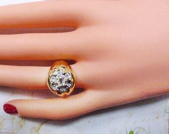 Vintage Joe Esposito Gold and Rhinestone Ring - Size 6.5 - R-601 - 14KT Espo Ring - Gold Espo Ring