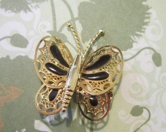 Vintage Victorian Style Gold Filigree Butterfly Brooch - BUT-11 - Victorian Butterfly - Gold Filigree Brooch