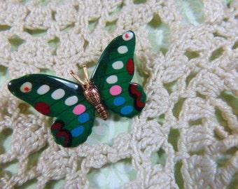 Vintage Enamel Butterfly Brooch - BUT-11 - Green Enamel Brooch - Spotted Wing Butterfly Brooch