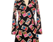 Its in the Mail! Vintage A Line Dress Funky Postage Stamps Print French Italian 1970S M-L