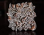 Pottery Stamps, Indian Wood Stamp, Textile Stamp, Wood Blocks, Tjaps, Printing Stamp- Square Floral
