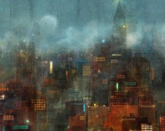 Blue City 02: Giclee Fine Art Print 13X19
