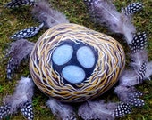 Hand painted rock, bird's nest with three robin eggs, spring decor