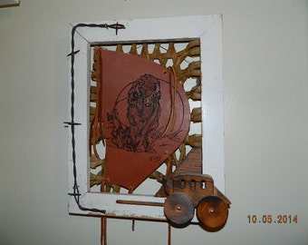 Buffalo Bison Wood Burned on Thick Leather Wooden Frame & Wood Stagecoach Old Barbed Wire Rawhide  Leather Wall Art Hanging Cabin Decor