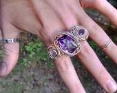 Ametrine, Watermelon Tourmaline, Herkimer Diamond 2 Finger Ring