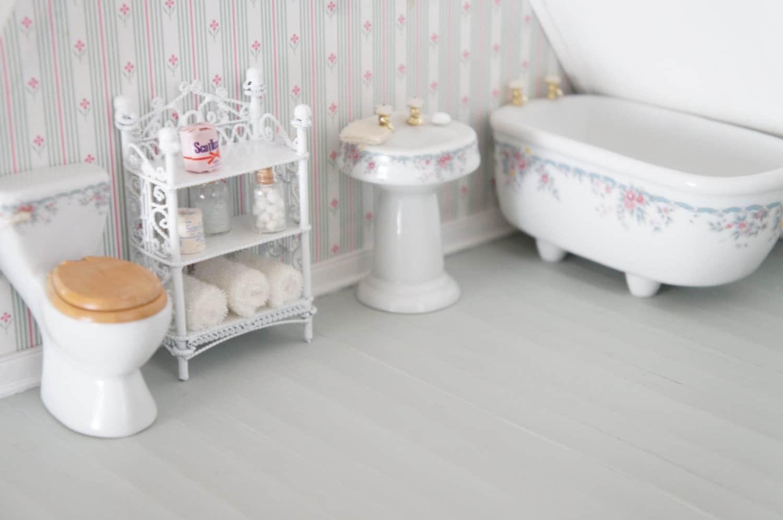 Miniature Bathroom Set Porcelain Dollhouse Bathroom Set