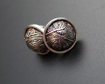 Silver stud earrings, silver hammered earrings, intricate silver earrings, pattern, artisan stud earrings, domed wire ear studs - Noodles