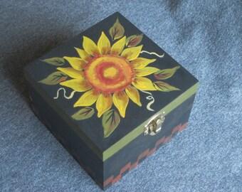 Hand Painted Folk Art Sunflower Box