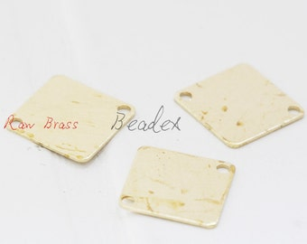 60 Pieces / Raw Brass / Brass Base / Square / Link 11mm (C1839//P388)