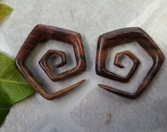 2G 6mm Wood Spiral Earrings, 1 PAIR SONO WOOD 2 Gauge ear taper expander.