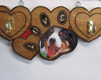 Picture Frame Dog Leash and Collar Wall Hanger
