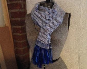 Wool Handwoven Scarf, hand-painted blue Rosepath pattern
