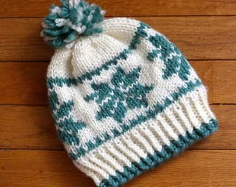 Hand-Knit Snowflake Fair Isle Pom-Pom Hat-- Baby / Ages 1-4, Cream and Teal