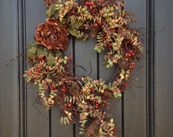 Fall Wreath Autumn Wreath Rustic Pine Twig Grapevine Door Wreath Decor Woodsy Wispy Branches Brown Berry Wreath Indoor Outdoor Decoration