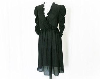 Vintage 80s Sheer Black Dress M L Ruffled Puff Sleeve Knee Length Ruched