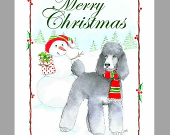 Poodle  Silver  Christmas Cards, Box of 16 Cards and 16 Envelopes