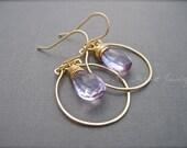 Pink Amethyst Gold Hoop Earrings, Handmade Dangle Earrings in 14K Gold Filled, Purple Gemstone Earrings