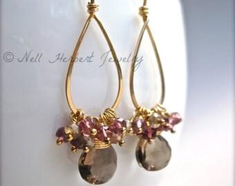 Smoky Quartz and Magenta Quartz Gemstone Dangle Earrings, Gold Hoop Gemstone Earrings in 14K Gold Fill