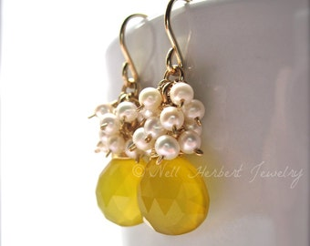 Yellow Chalcedony and Freshwater Pearl Lemon Drop Earrings, 14K Gold Filled Handmade Earrings