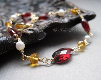 Garnet Bracelet, Garnet Citrine and Pearl Bracelet, Gemstone Bracelet, Wire Wrapped Gold Bracelet, January Birthstone