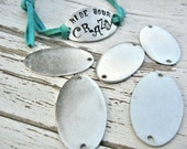 """5 PACK PEWTER 16g - 1.5"""" x 7/8""""  OVAL Blank with Two Holes - New Item  - ImpressArt Metal Stamping Blank - You Get 5 Blanks"""