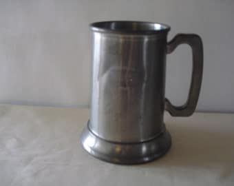 JOSTEN'S Pewter Beer Stein Mug Cup With Glass Bottom.