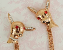 Vintage Sweater Clips or Double Brooch of Rhinestone Deer