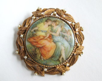 Vintage Renaissance Women Brooch / Mother Daughter / Hand Painted Milk Glass Porcelain Pin / Women in Love