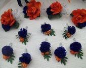 "Custom order For ""Tiffany""Orange,Navy blue and Silver Boutonnieres Wedding Flowers 8 Piece Silk Package Made To Order Wedding Flowers"