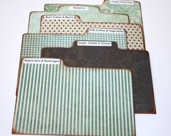 Divider Cards - Set of 6 Teal Blue Damask Custom 4x6 Recipe Divider Cards, Laminate Divider Cards