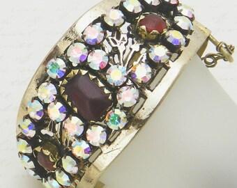 Vintage Kuchi Cuff Bracelet with original red glass gems - reimagined with big aurora borealis rhinestones