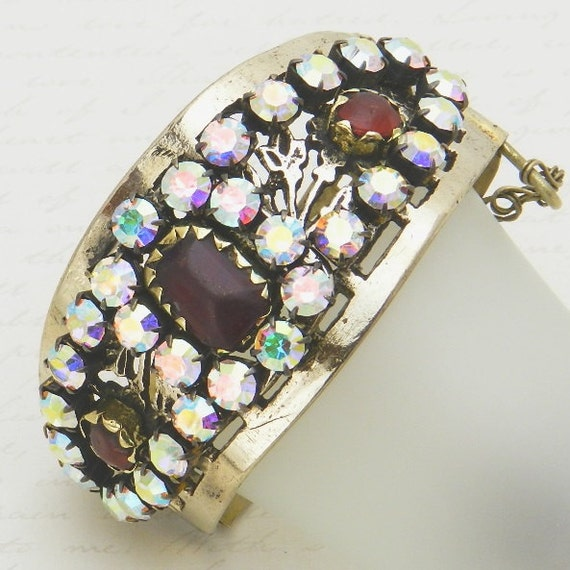 Vintage Kuchi Cuff Bracelet with original red glass gems - reimagined with big aurora borealis rhinestones