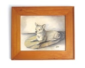 Framed Chihuahua Drawing - Original Pastel Pencil Sketch - Dog Art Work