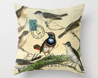 Throw Pillow Cover - Birds on a Tree on Vintage Ephemera - 16x16, 18x18, 20x20 - Pillow case Original Design Home Décor by Adidit