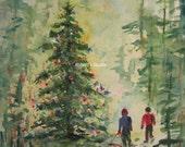 Christmas Painting Christmas Tree, Print of Original Watercolor Painting, winter snow landscape, snow sledding watercolor print, holiday art