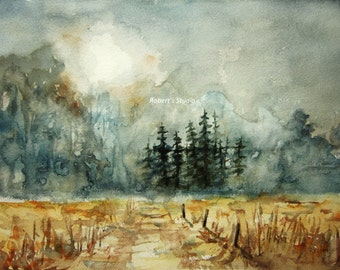 Print Of Watercolor landscape painting, Pine Trees, watercolor art, moonlight watercolor, nature art, woodland path, home decor, wall art.