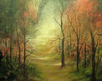 Original Painting, acrylic painting, landscape painting autumn landscape, fall forest, scenic painting, fall painting, 11x14 painting nature