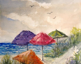 Beach Umbrella, Print of a Watercolor Seascape Painting, art print, beach art, beach painting, landscape, ocean painting, summer painting.