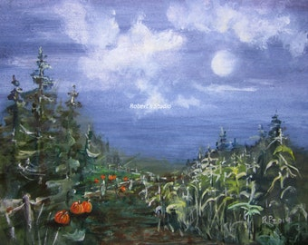 Original Acrylic Landscape Painting, autumn landscape, fall wall art, original 8x10, farm painting, corn field, pumpkin patch, fall harvest