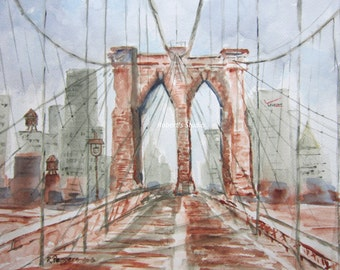 Brooklyn Bridge art, watercolor print, watercolor art cityscape painting, bridge art New York City archival print wall decor.