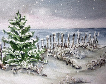 Winter Shore, watercolor print, beach art, landscape painting, winter painting, seascape, coastal painting, watercolor art
