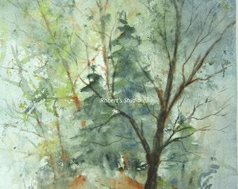 Watercolor landscape painting print, Hilltop, watercolor art, tree art, landscape art, blue, green, mountain painting, forest art.