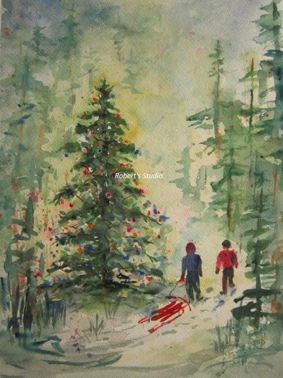 Christmas painting tree print of original