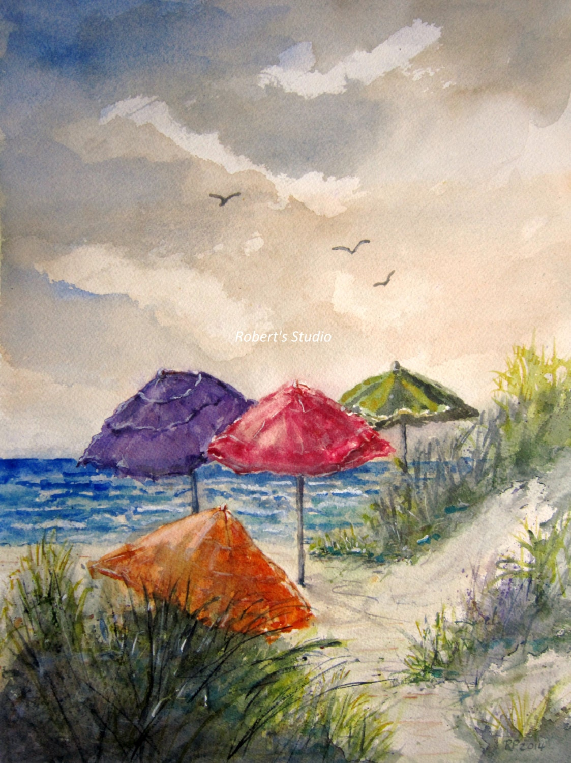 beach umbrellaoriginal watercolor seascape