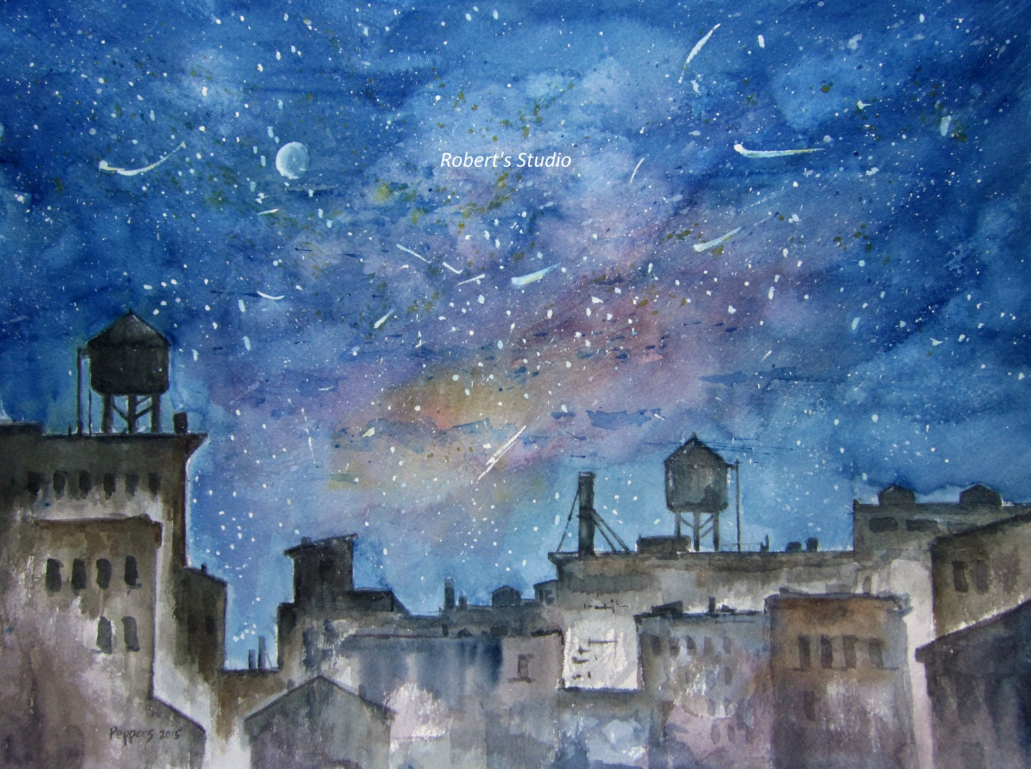Night Starswatercolor Cityscape Painting Original Urban