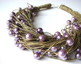 LOVELY pearls  Big - linen necklace