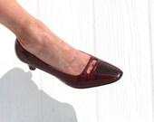 Mr Easton * 60s Patent Leather Pumps * Burgundy Pumps * 1960s Pumps * Snakeskin Pumps * Leather Heels * Mad Man Shoes